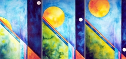 Paul Douglas, London / Sunrise Trilogy, watercolour, 70 x 150 cm, framed